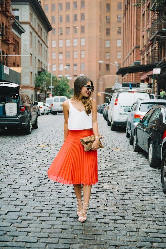 Orange skirt gladiator sandal