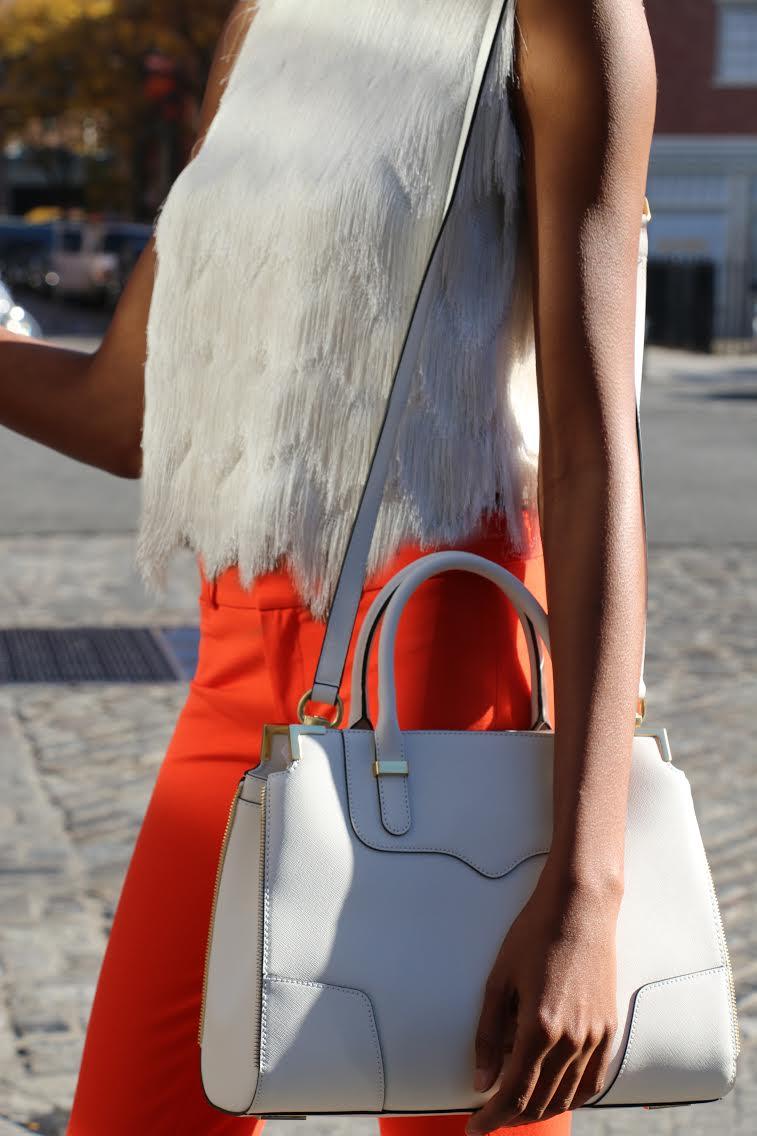 Tanger Orange_Fringe Top