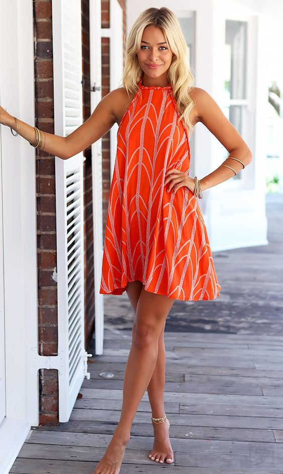 Tanger Orange_ Millennial Dress