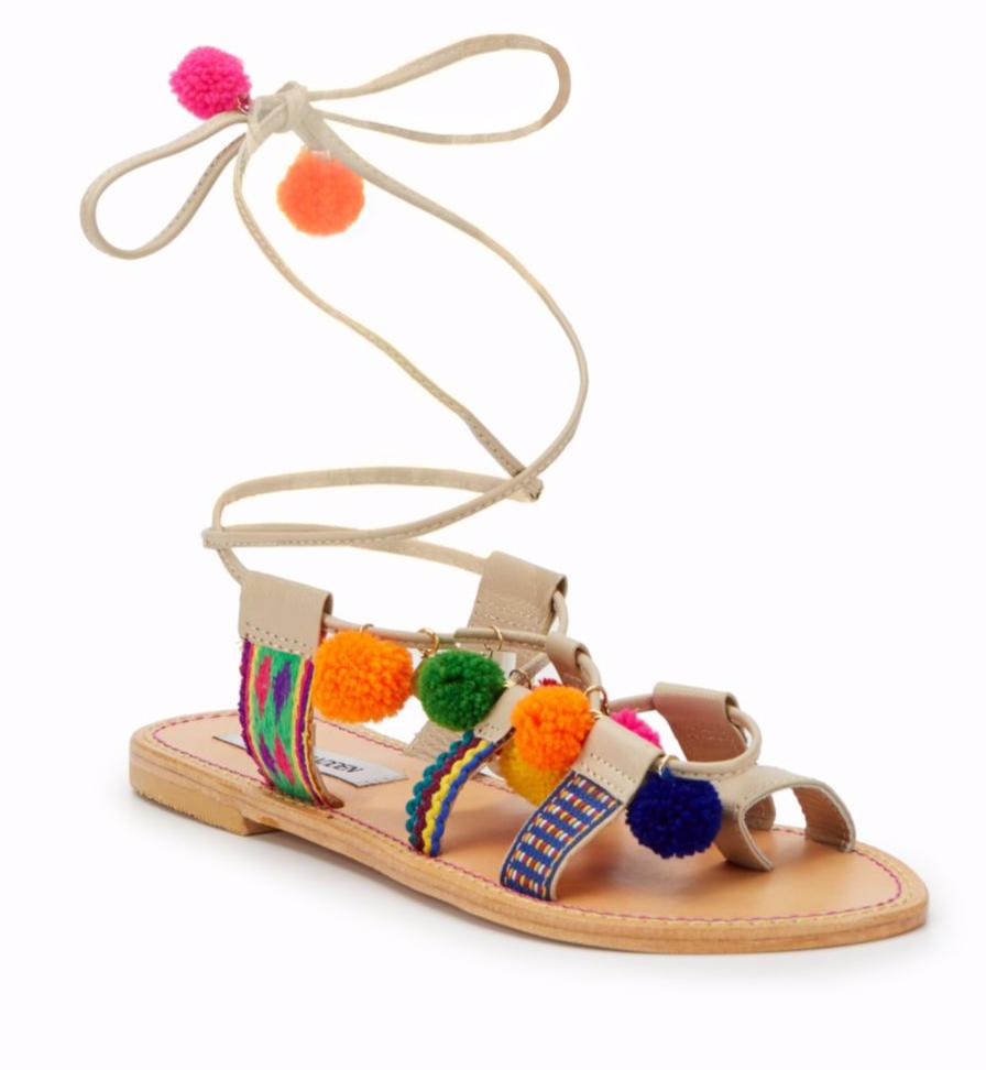 Tanger Outlets Saks OFF 5th pom pom lace up sandal